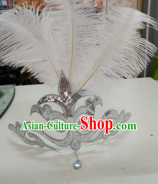 Chinese Classical Dance Hair Accessories Traditional Folk Dance Yanko Dance White Feather Headwear for Women