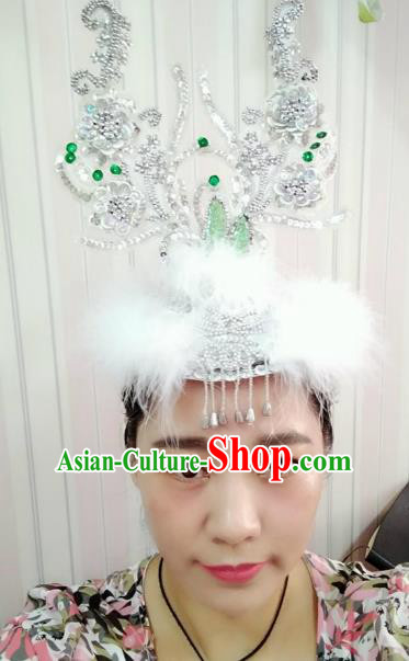 Chinese Mongolian Nationality Dance Feather Hair Accessories Traditional Folk Dance Yanko Dance Headwear for Women