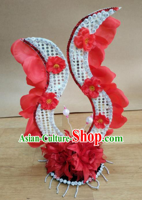 Chinese Classical Dance Hair Accessories Traditional Folk Dance Red Flowers Headwear for Women