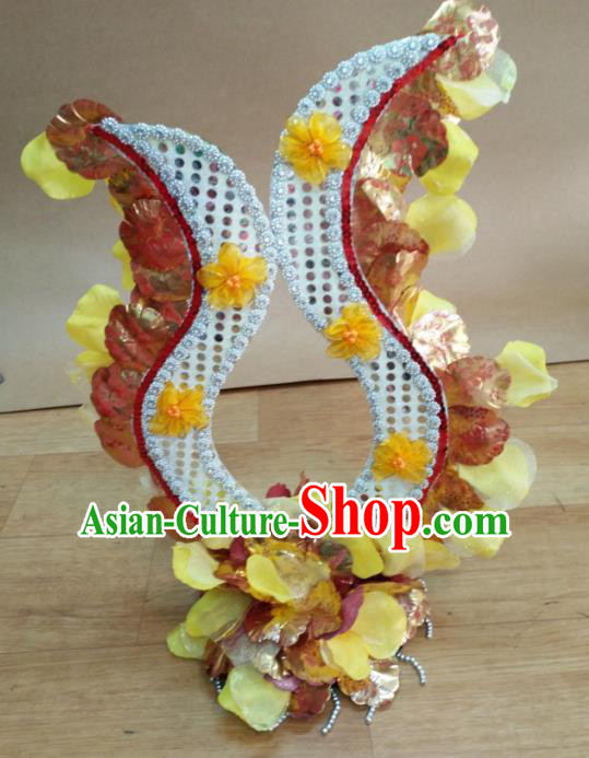 Chinese Classical Dance Hair Accessories Traditional Folk Dance Yellow Flowers Headwear for Women