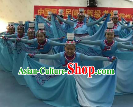 Traditional Chinese Classical Dance Costume, Mongolian Nationality Dance Blue Dress for Women