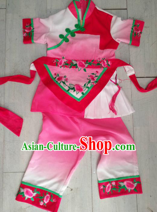 Traditional Chinese Classical Dance Costume, China Folk Dance Yanko Pink Clothing for Kids