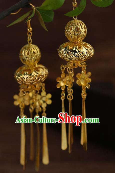 Chinese Traditional Classical Accessories Long Tassel Golden Calabash Earrings Headwear for Women