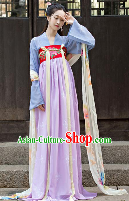 Traditional Chinese Ancient Palace Lady Embroidered Costume Tang Dynasty Princess Hanfu Dress for Women