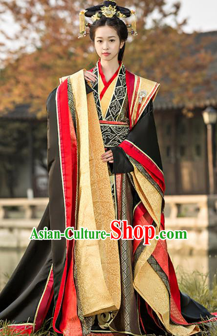 Traditional Chinese Ancient Imperial Consort Costume Qin Dynasty Empress Dowager Hanfu Dress for Women