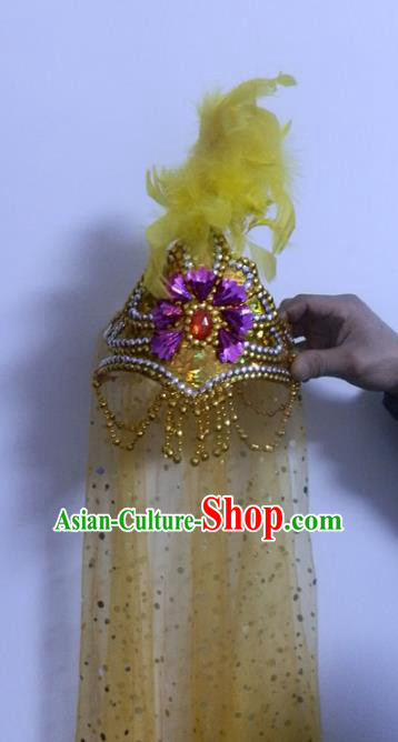 Chinese Traditional Folk Dance Hair Accessories Uyghur Nationality Dance Headwear Yellow Feather Hats for Women