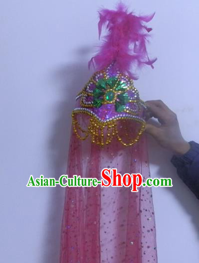 Chinese Traditional Folk Dance Hair Accessories Uyghur Nationality Dance Headwear Pink Feather Hats for Women