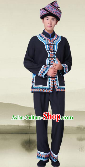 Traditional Chinese Tujia Nationality Dance Black Costume and Headwear Tujia Ethnic Minority Embroidery Clothing for Men