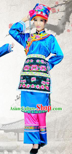 Traditional Chinese Qiang Nationality Embroidered Costume, China Ethnic Minority Dance Clothing and Headdress for Women