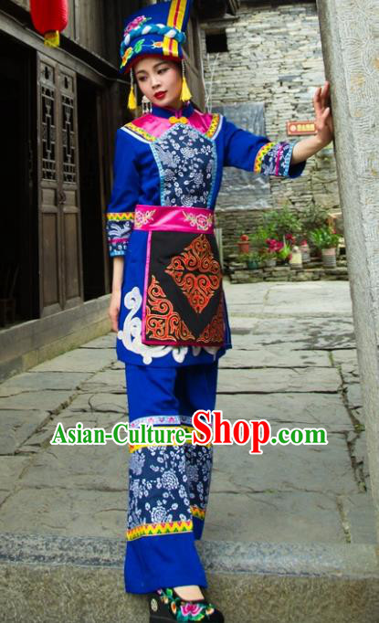 Traditional Chinese Qiang Nationality Embroidered Costume, China Ethnic Minority Dance Blue Clothing and Headdress for Women