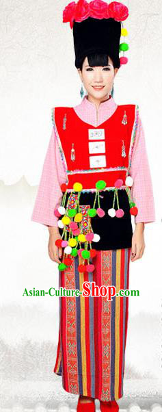 Traditional Chinese Achang Nationality Costume, China Ethnic Minority Dance Clothing and Hats for Women