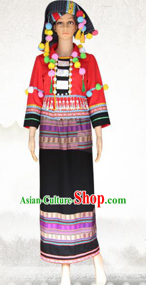Traditional Chinese Wa Nationality Dance Costume and Headwear, China Ethnic Minority Embroidery Clothing and Headdress for Women