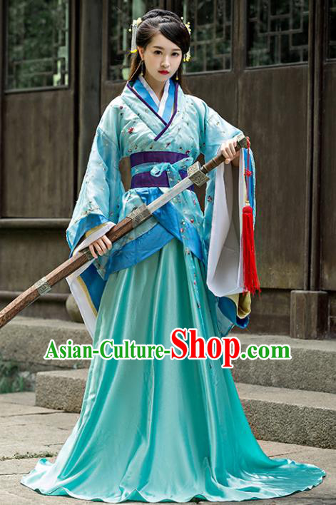 Chinese Ancient Palace Lady Embroidered Hanfu Curving-front Robe Han Dynasty Imperial Consort Replica Costume for Women