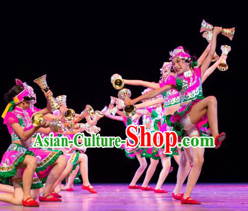 Traditional Chinese Folk Dance Costume, Children Classical Dance Dress Clothing for Kids