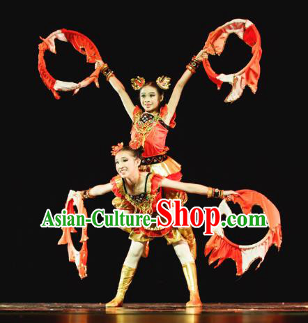 Traditional Chinese Folk Dance Nezha Costume, Children Classical Dance Dress Clothing for Kids