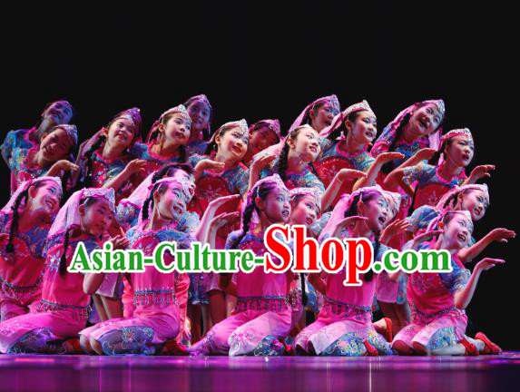 Traditional Chinese Folk Dance Costume, Children Yanko Dance Dress Clothing for Kids