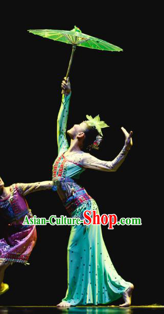 Traditional Chinese Umbrella Dance Folk Dance Costume, Children Classical Dance Dress Clothing for Kids