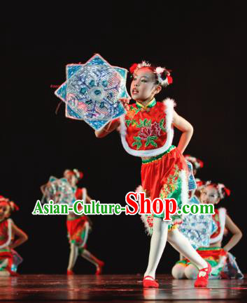 Traditional Chinese Yangko Dance Folk Dance Costume, Children Classical Dance Dress Clothing for Kids