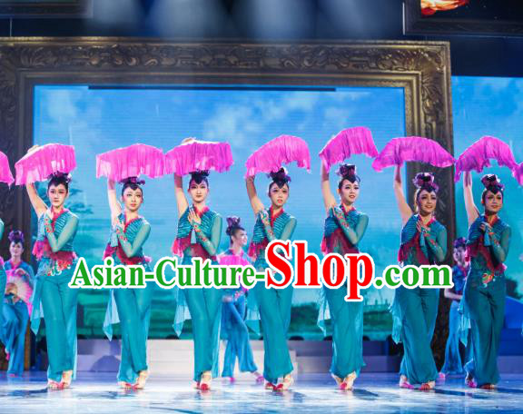 Traditional Chinese Folk Dance Embroidered Costume, China Classical Dance Yangko Clothing for Women