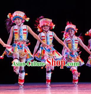 Chinese Traditional Folk Dance Ethnic Costume, Children Bai National Minority Classical Dance Clothing for Kids