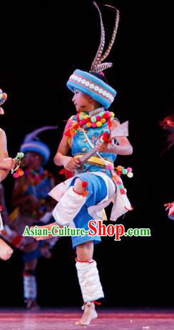 Chinese Traditional Folk Dance Ethnic Costume, Children Yi National Minority Classical Dance Clothing for Kids