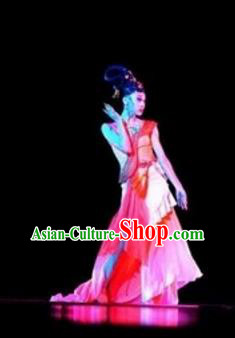 Traditional Chinese Classical Gossamer Dance Costume, Folk Dance Umbrella Dance Clothing for Women