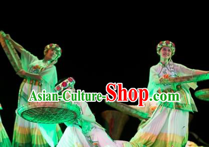 Traditional Chinese National Minority Dance Costume, China Folk Dance Stage Performance Dance Dress Clothing for Women