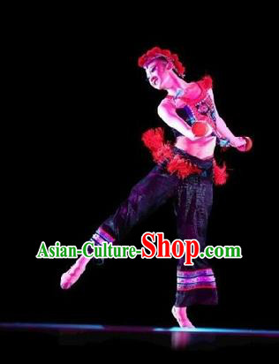 Traditional Chinese Classical Dance Costume, Folk Dance Yangko Dance Dress Clothing for Women