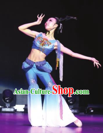 Traditional Chinese Classical Dance Blue Costume, Folk Dance Yangko Dance Dress Clothing for Women