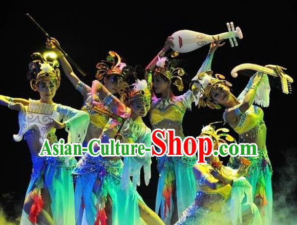 Chinese Traditional Folk Dance Stage Performance Costume, China Classical Dance Dress Ancient Clothing for Women