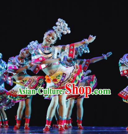 Chinese Traditional Miao Ethnic Stage Performance Costume, China Nationality Folk Dance Clothing for Children