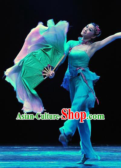 Chinese Traditional Fan Dance Stage Performance Costumes Folk Dance Classical Dance Dress for Women