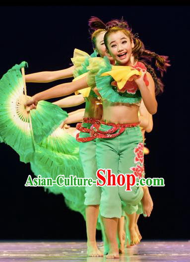 Chinese Traditional Yangge Stage Performance Green Costume, China Folk Dance Classical Dance Clothing for Children