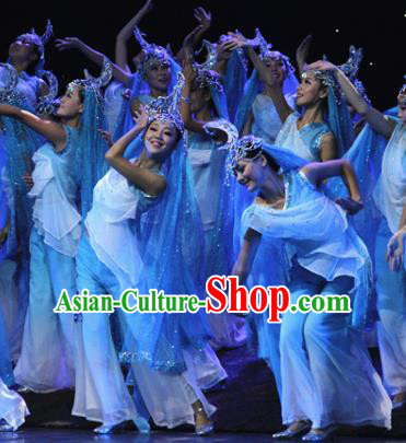 Chinese Traditional Folk Dance Costume Classical Dance Dress, China Hui Nationality Stage Performance Clothing for Women
