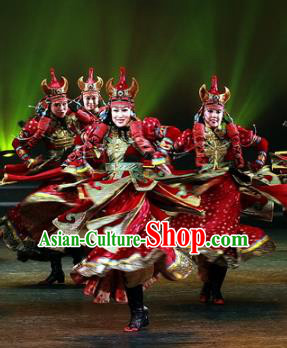 Traditional Chinese Zang Nationality Dance Costume, China Tibetan Folk Dance Classical Dance Embroidery Clothing for Women