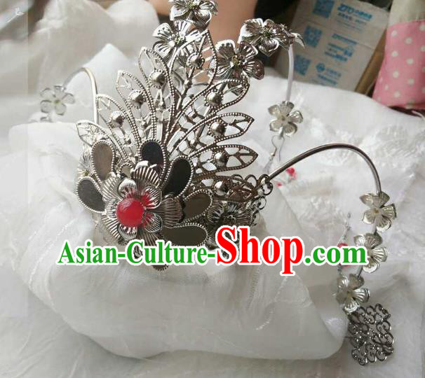 Chinese Traditional Ancient Hair Accessories Classical Red Beads Tassel Phoenix Coronet Hanfu Hairpins for Women