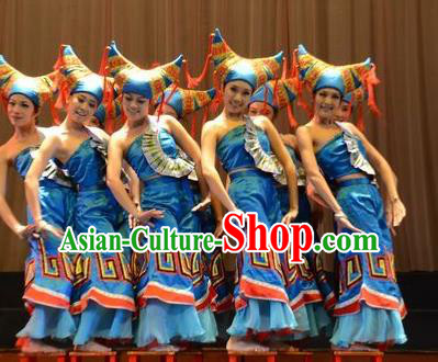 Traditional Chinese Yi Nationality Dance Costume, China Folk Dance Classical Dance Clothing for Women