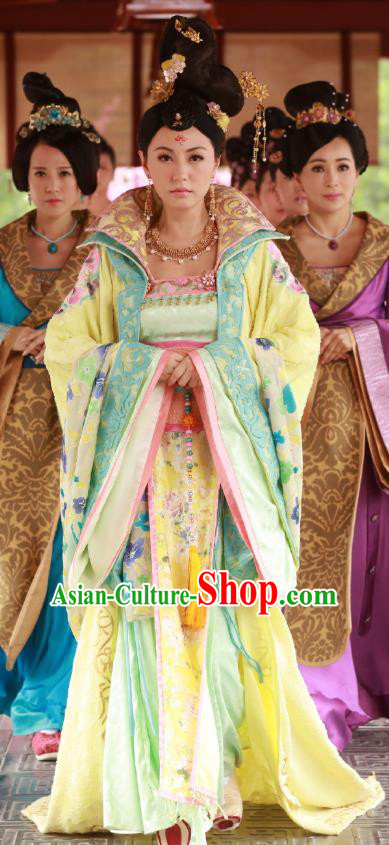 Chinese Ancient Nobility Lady Hanfu Dress Tang Dynasty Palace Princess Embroidered Costumes for Women