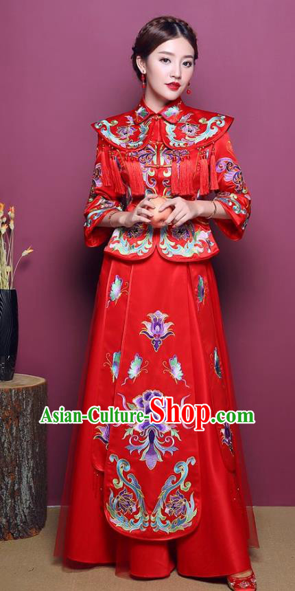 Chinese Traditional Wedding Dress Costume Bottom Drawer, China Ancient Bride Embroidered Peony Xiuhe Suits for Women