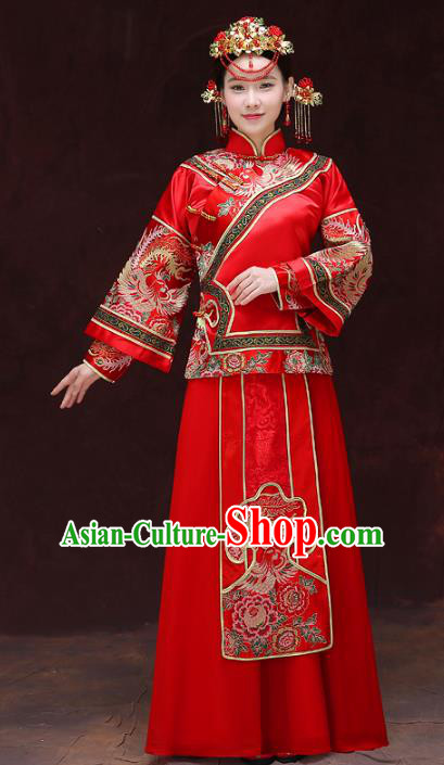Chinese Traditional Xiuhe Suits Bride Red Toast Clothing Ancient Embroidery Peony Bottom Drawer Wedding Costumes for Women