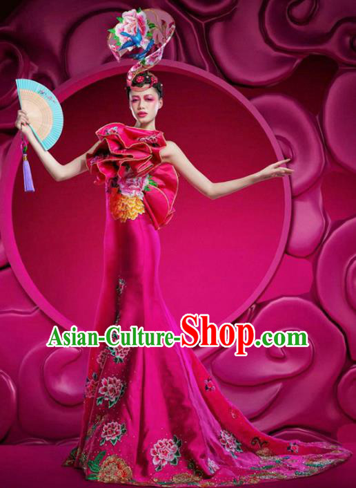 Top Grade Stage Performance Costumes China Style Modern Fancywork Rosy Full Dress and Headwear for Women