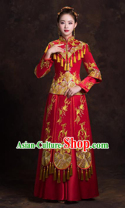 Chinese Traditional Golden Tassel Xiuhe Suits Bride Red Full Dress Ancient Embroidered Peony Bottom Drawer Wedding Costumes for Women