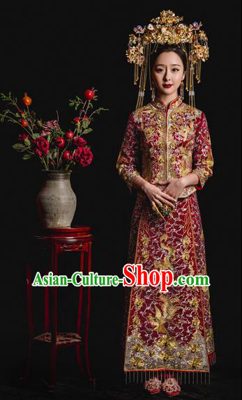 Chinese Ancient Wedding Costume Bride Embroidery Toast Clothing, Traditional Delicate Embroidered Xiuhe Suits for Women