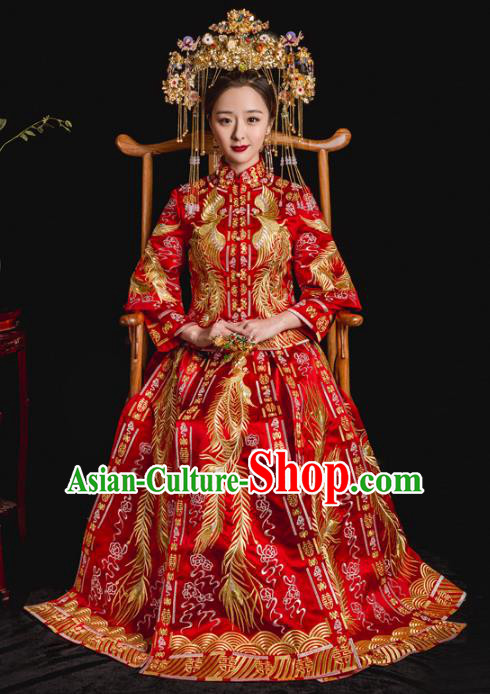Chinese Traditional Toast Red Xiuhe Suits Ancient Bride Embroidered Phoenix Bottom Drawer Wedding Costumes for Women
