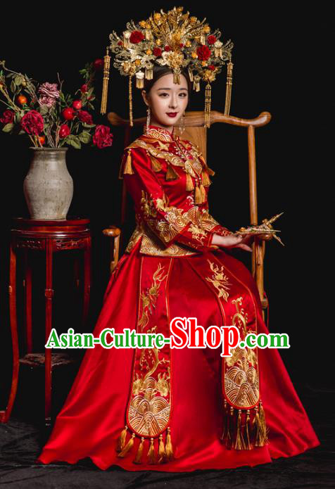 Chinese Ancient Bride Wedding Costume Embroidery Toast Clothing, Traditional Qing Dynasty Delicate Embroidered Red Xiuhe Suits for Women
