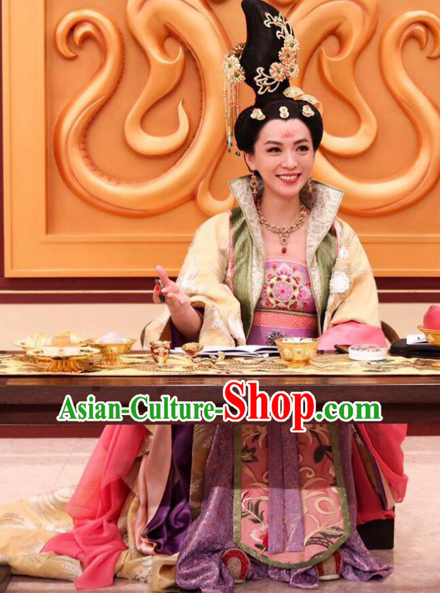 Ancient Chinese Tang Dynasty Court Hanfu Dress Princess Taiping Embroidered Costumes for Women