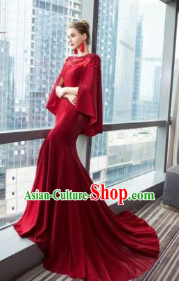 Top Grade Advanced Customization Red Mullet Dress Wedding Dress Compere Bridal Full Dress for Women