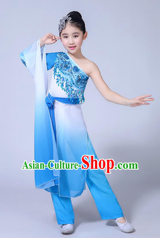 Chinese Ancient Costume Children Classical Dance Blue Dress Stage Performance Clothing for Kids