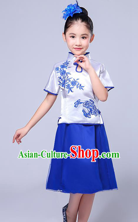 Chinese Ancient Chorus Costume Children Classical Dance Printing Flowers Blue Dress Stage Performance Clothing for Kids
