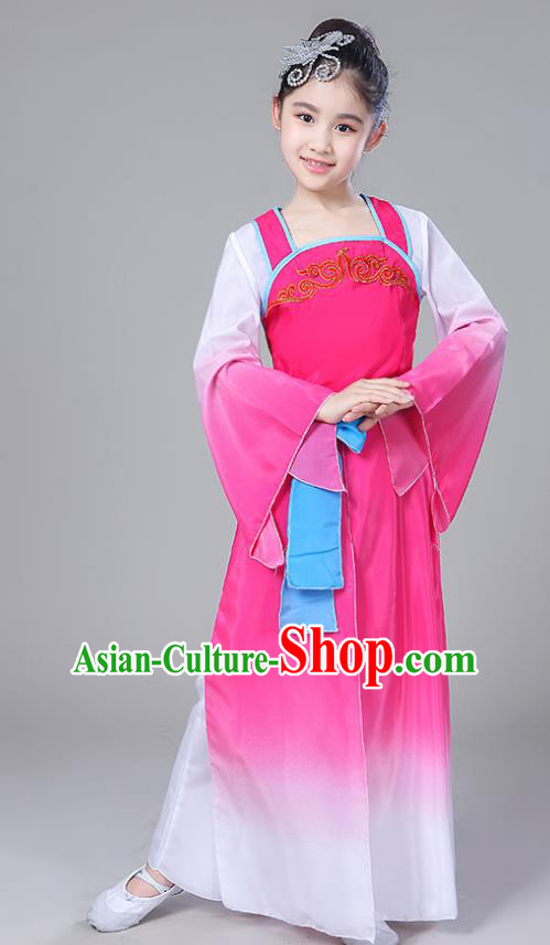 Chinese Traditional Folk Dance Costumes Children Classical Dance Yangko Rosy Clothing for Kids